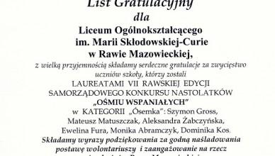 List gratulacyjny 2012